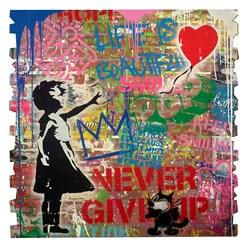 Balloon Girl by Mr. Brainwash - Original Painting on Box Board sized 48x48 inches. Available from Whitewall Galleries